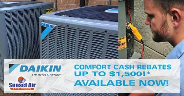 Daikin Comfort Cash Rebate - Sunset Air Fort Myers Florida - June 2017 - 600 x 315
