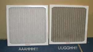 air filter clean and dirty – Fort Myers - Sunset Air & Home Services