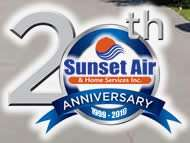 20 Years In Business - Sunset Air and Home Services - Fort Myers Florida - 190 x 143