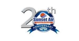 20th Anniversary Logo - Your Air Conditioning Company Moving Ahead - Sunset Air and Home Services - Fort Myers Florida - 300 x158