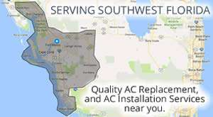 AC Replacement Service Area Map - Southwest Florida - Sunset Air and Home Services - 300 x 165