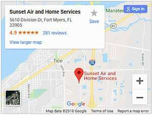 Our Office Location on Google Maps - Sunset Air and Home Services - Fort Myers Florida - 300 x 228
