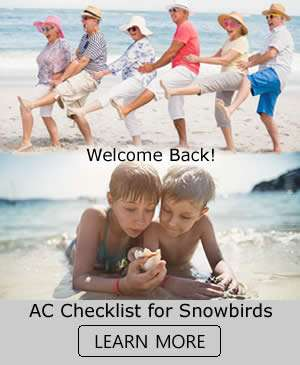 Welcome Back SnowBirds V2 - AC Checklist For Snowbirds - Sunset Air and Home Services - Fort Myers Florida - 300 x 365