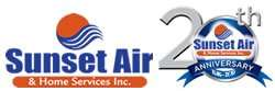 Your Air Conditioning Company 20th Anniversary Logo - Fort Myers Florida - Sunset Air and Home Services - 250 x 83