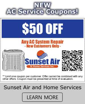 New AC Service Coupons - Sunset Air and Home Services - Fort Myers FL - 300 x 365
