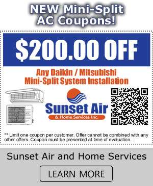 New Mini Split AC Coupons - Sunset Air and Home Services - Fort Myers FL - 300 x 365