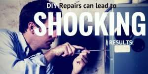 Man fixing AC leading to shocking results-5 Reasons to avoid DIY AC Repairs-Sunset Air and Home Services-Fort Myers-300x150jpg
