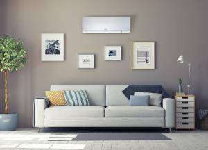 Mini split unit on wall in living room-Sunset Air and Home Services-Fort Myers FL-300x216