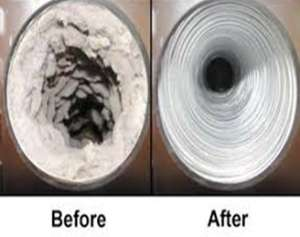 Before and after dryer cleaning- Spring Forward with 9 Safety Checks-Sunset Air and Home Services office-Fort Myers-300x237jpg