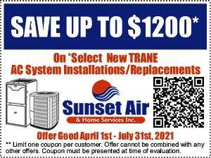 Trane coupon rebate-Sunset Air and Home Services-7 Ways to Save Money This Summer-Fort Myers-300x224